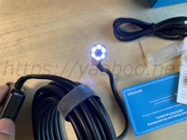 Depstechのワイヤレス内視鏡のLED一番明るい場合
